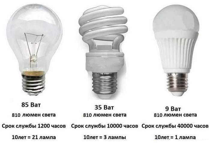 виды электроламп